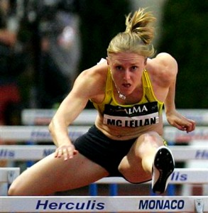 Sally McLellan of Australia competing in the women's 100 metres hurdles at the Herculis 2009 meeting in Monaco PHOTO/Kurt Morris