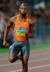 Asafa Powell of Jamaica running in the men's 100m in Rome