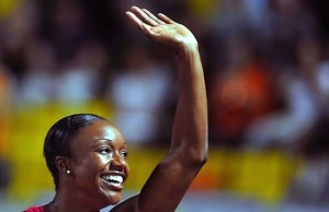 Carmelita Jeter of USA celebrates winning in Greece in 10.67s PHOTO/James Davis