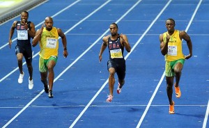 Usain Bolt (R) ahead of Tyson Gay (c) and Asafa Powell in his world record run of 9.58secs at the world championships in Berlin PHOTO/Randy Miyazaki